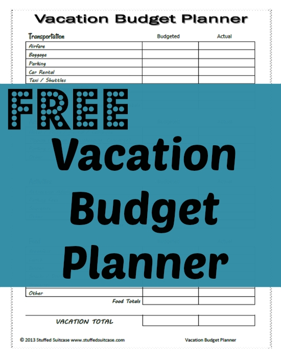 Free Vacation Budget Planner Printable Free Vacations Planners