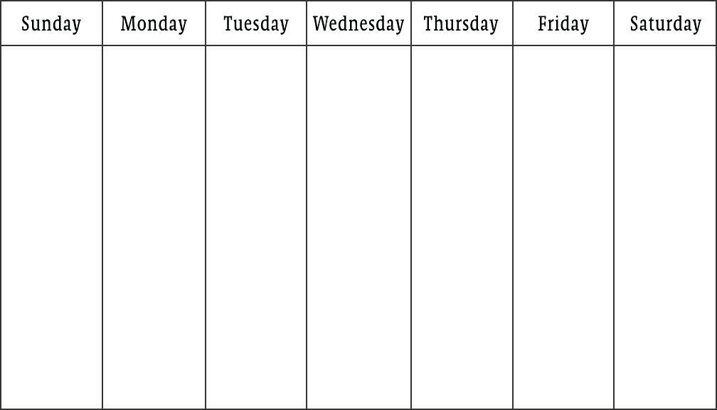 Template Monday Thru Friday Calendar Template