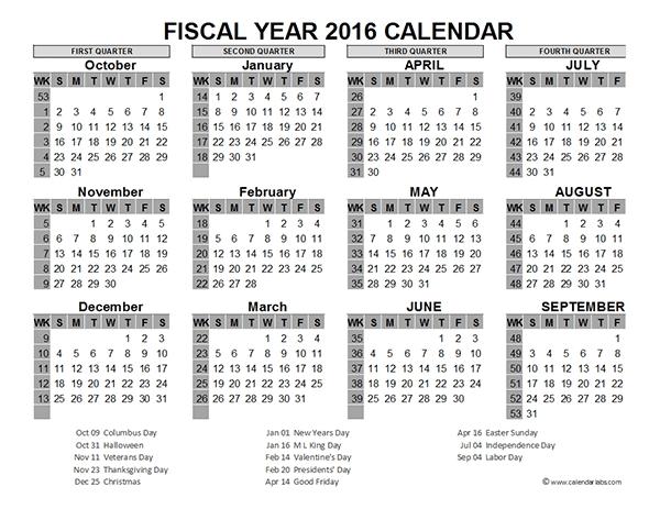 2016 Fiscal Year Calendar Usa 06 Free Printable Templates