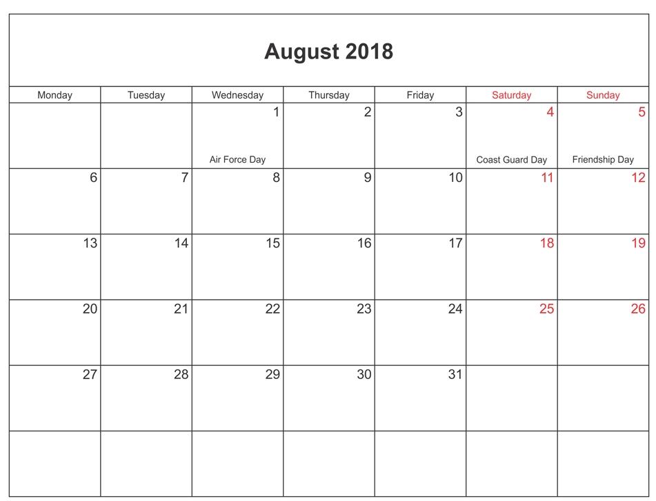 August 2018 Calendar Us Public Holidays Calendar Printable With