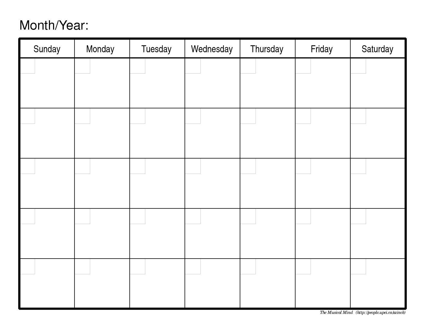 Blank Fill In Calendar Acurlunamediaco3abry