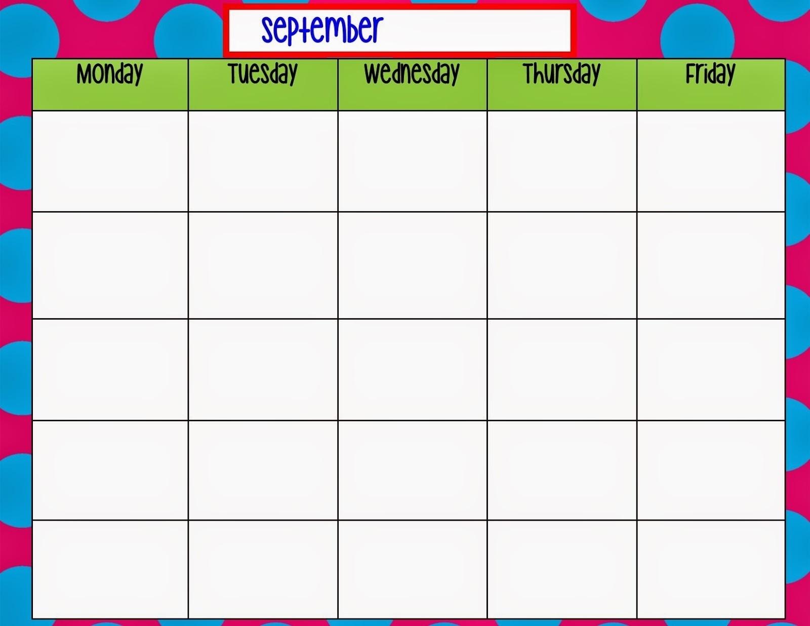Blank Monday Through Friday Work Schedule Calendar Printable
