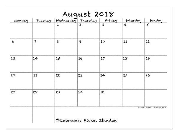 Calendar August 2018 77ms