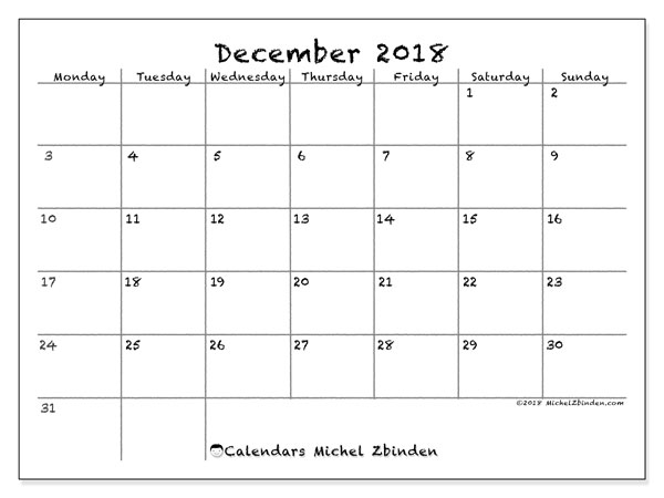 Calendars December 2018 Ms