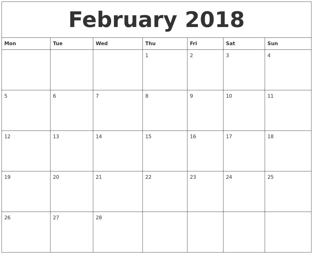 Free Blank Monthly Calendar Template 2018 Jill Davis Design3abry