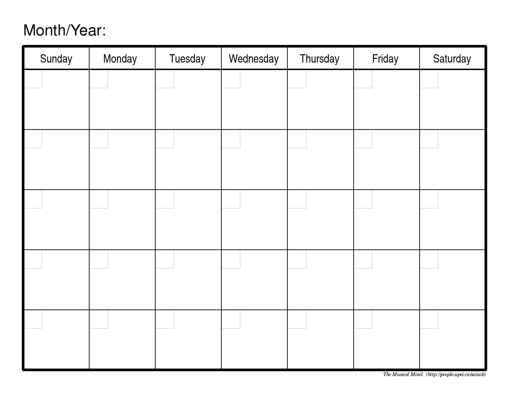 Generic Monthly Calendar Template Kleobeachfixco