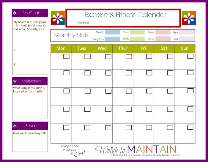 New And Improved Printable Fitness Calendar Pinterest Fitness