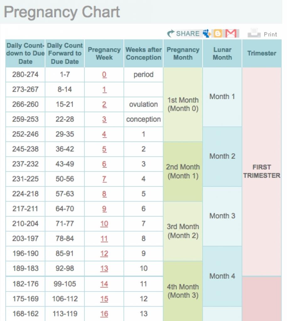 Pregnancy Week Calendar Tierbrianhenryco  Xjb