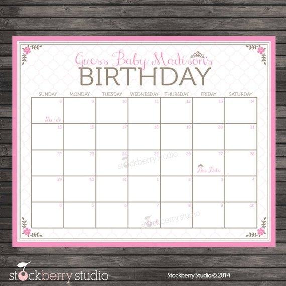 Princess Ba Shower Guess The Due Date Calendar Pink Ba