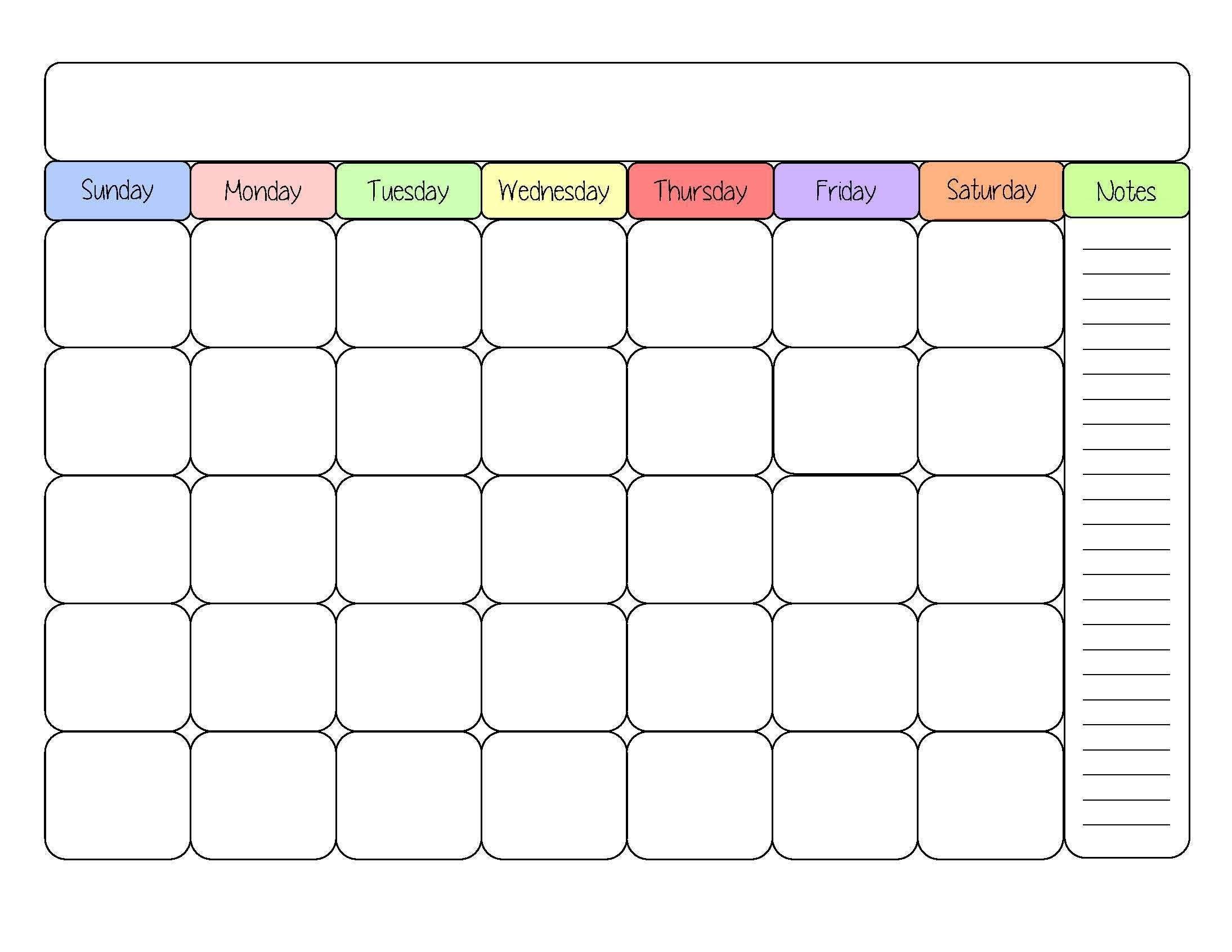 Printable Colorful Calendar Calendario Pis3abry