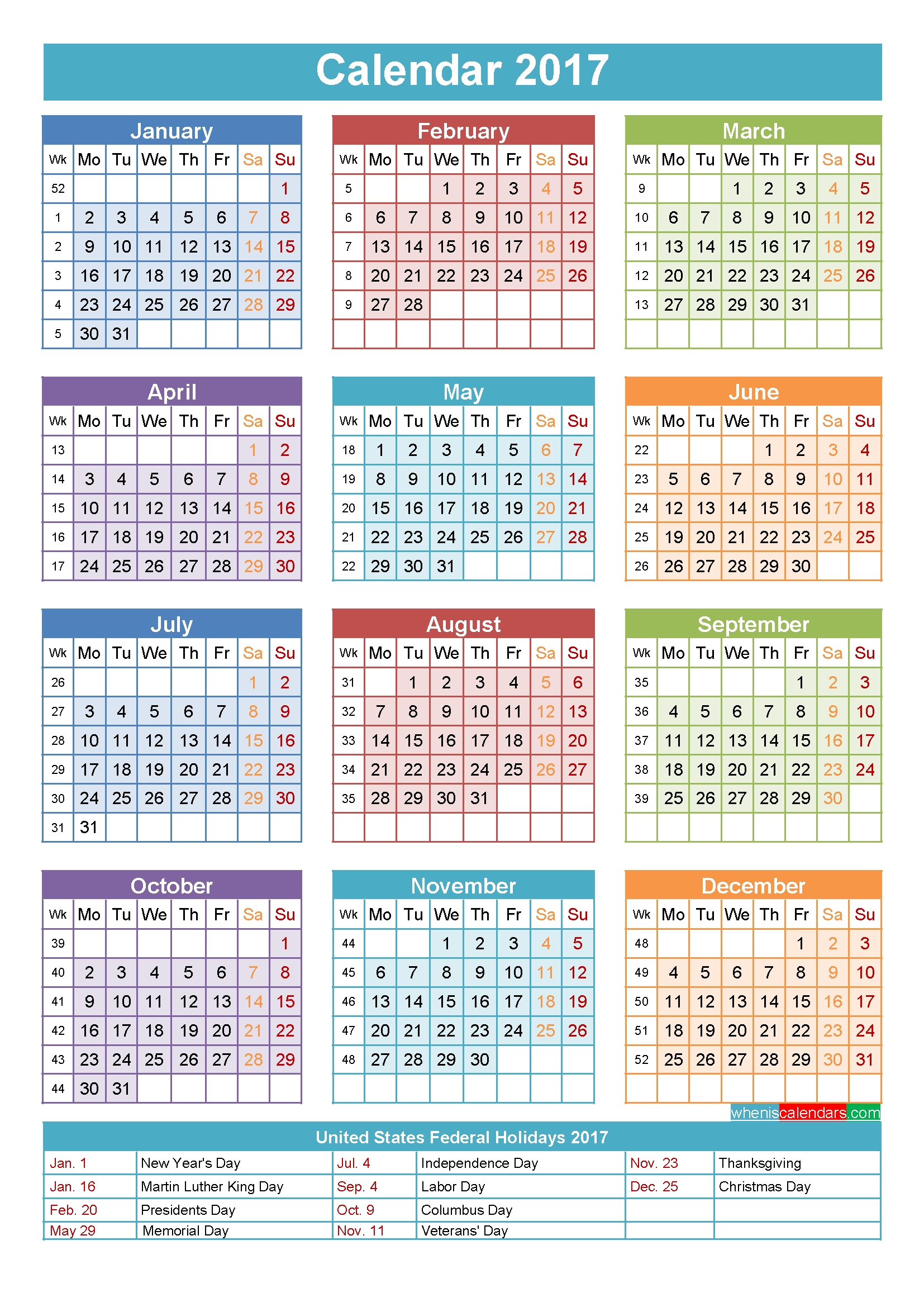 2017 Calendar With Holidays Printable Yearly Template Fine 28 Day