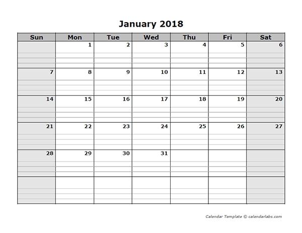 2018 Free Blank Calendar Free Printable Templates