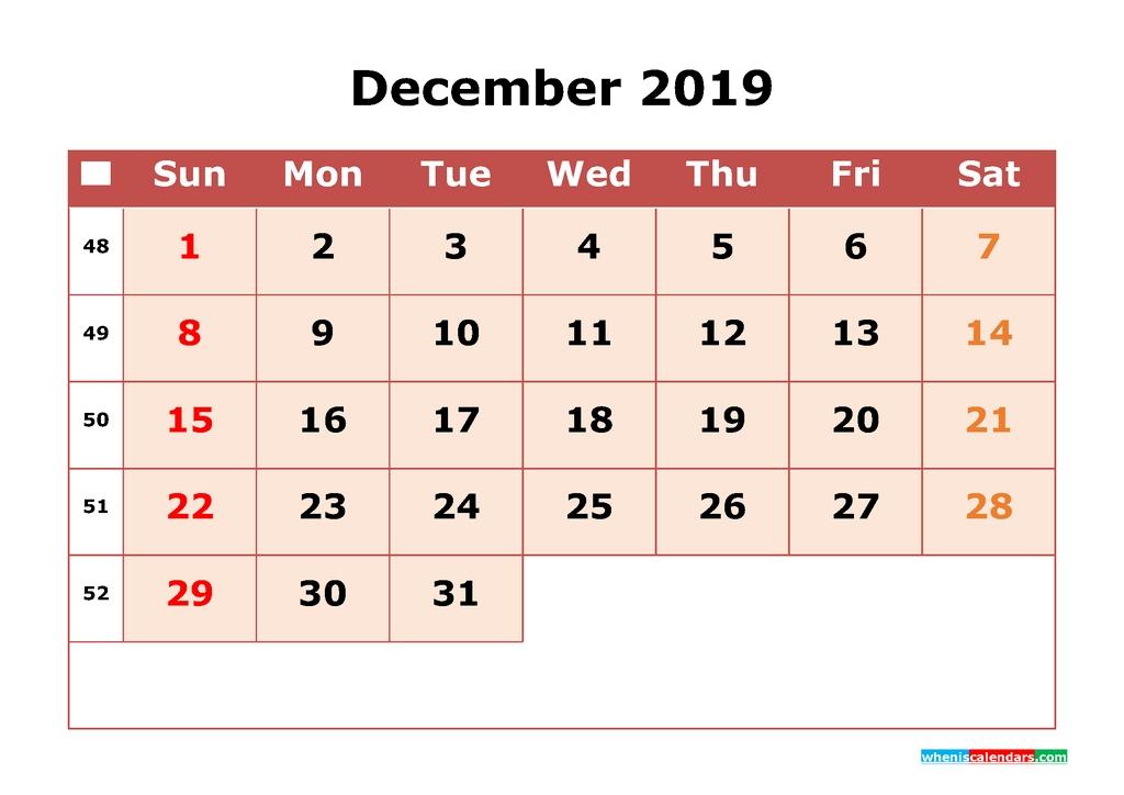 2019 Printable Calendar December With Week Numbers 2018 2019