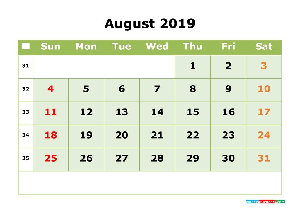 August 2019 Printable Calendar Month Month Calendar Template
