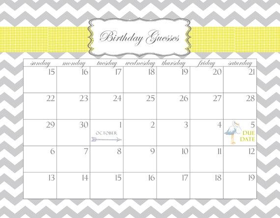Ba Pool Calendar Template Ba Shower Calendar Printable Pdf