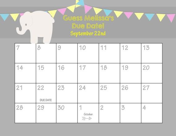 Ba Shower Calendar Template Ba Shower Calendar Template Printable