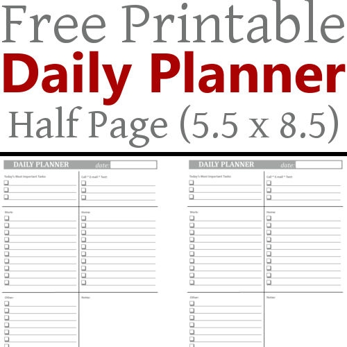 Diy Home Sweet Home Daily Planner 55 X 85 Free Printable
