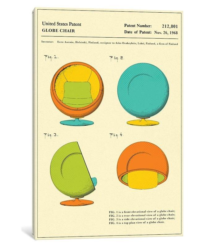 East Urban Home Eero Aarnio Asko Globe Chair Patent Graphic Art
