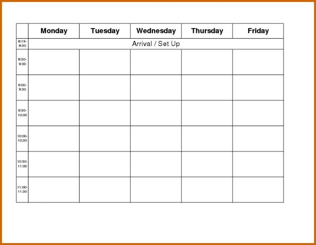 Monday Through Friday Calendar Template Word Akbakatadhinco