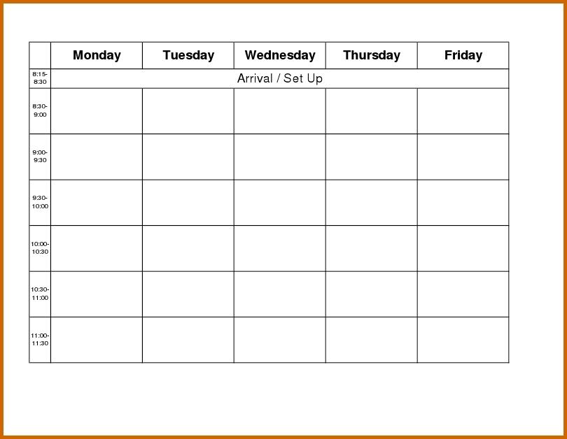 Monday Through Friday Printable Calendar