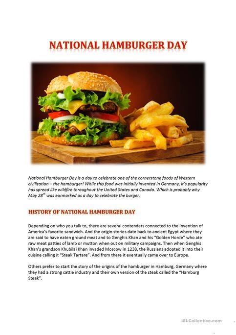 National Hamburger Day Worksheet Free Esl Printable Worksheets