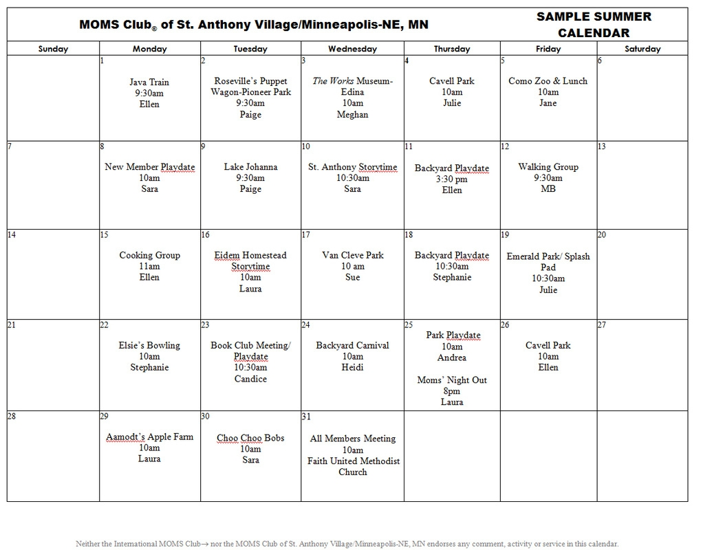 Sample Summer Calendar Moms Club Of St Anthony Village