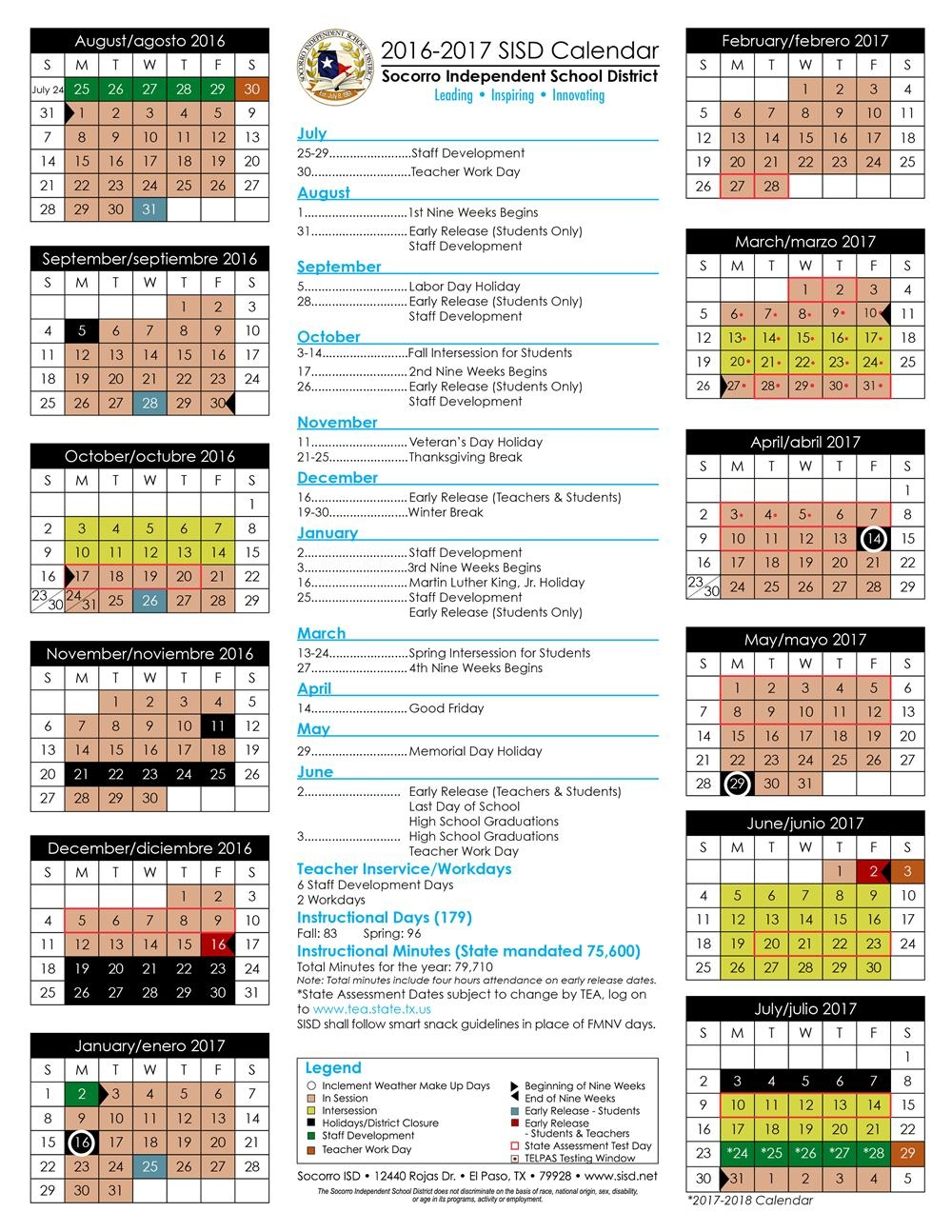 2016 17 And 2017 18 Sisd Student Calendar Approved