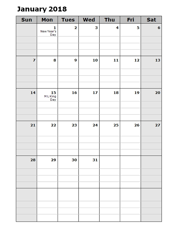 2018 Daily Planner Calendar Template Free Printable Templates