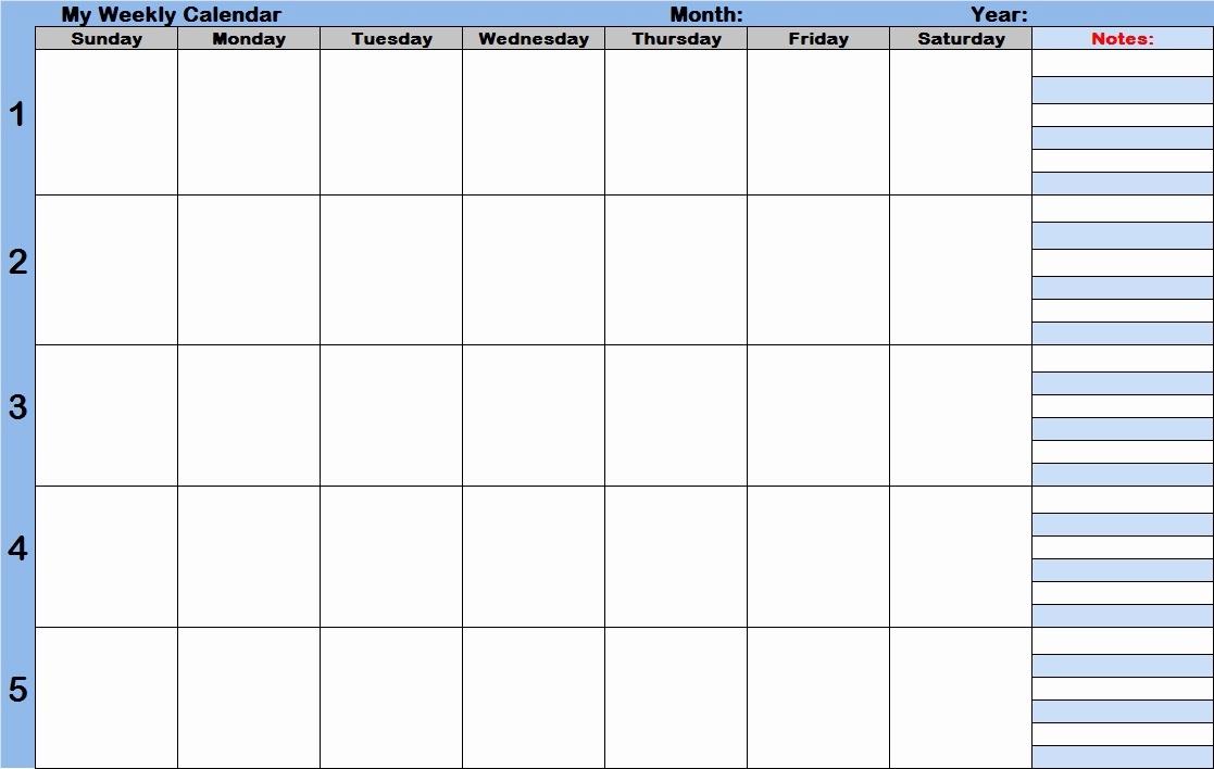 Weekly Calendar With Time Slots Free Printable Weekly Calendar With