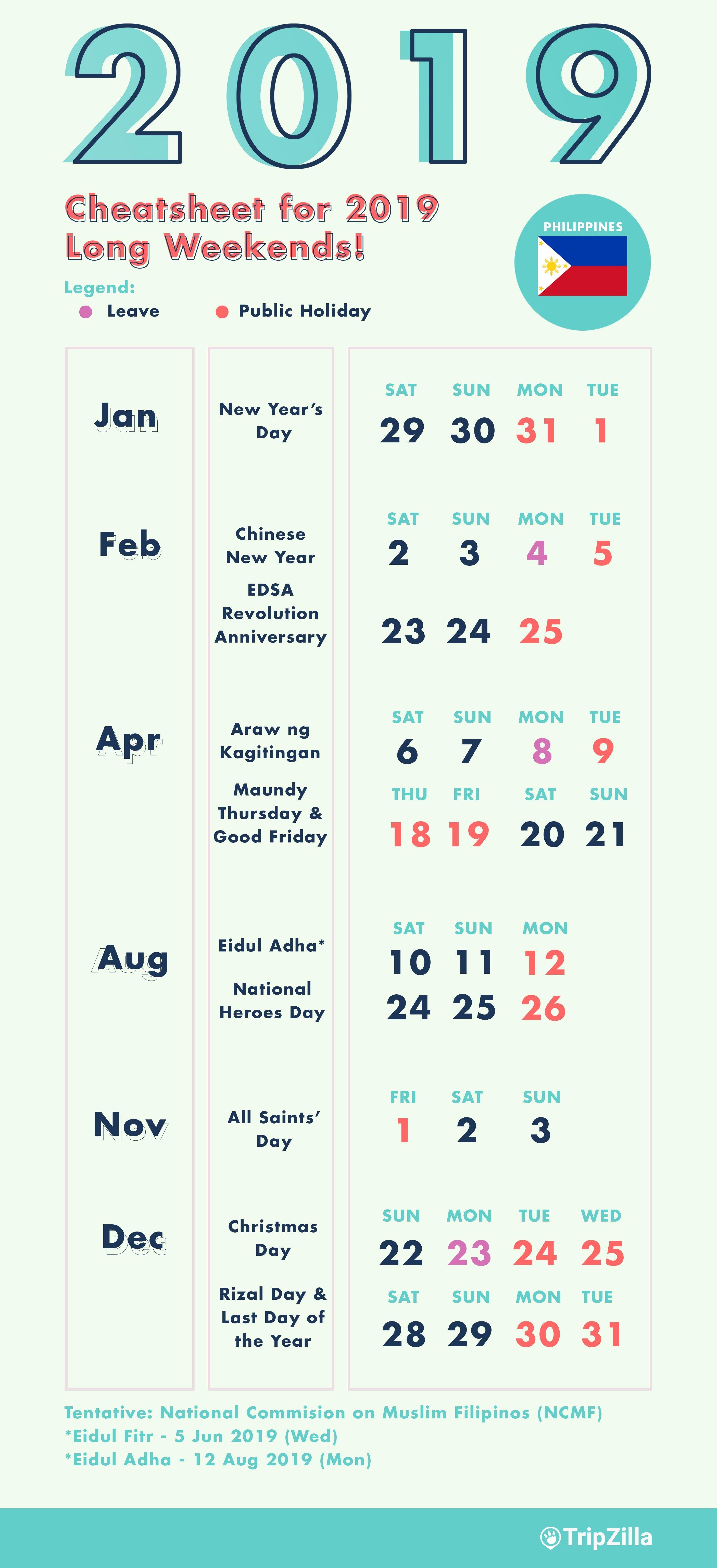 10 Long Weekends In The Philippines In 2019 With Calendar & Cheatsheet Calendar 2019 Leave