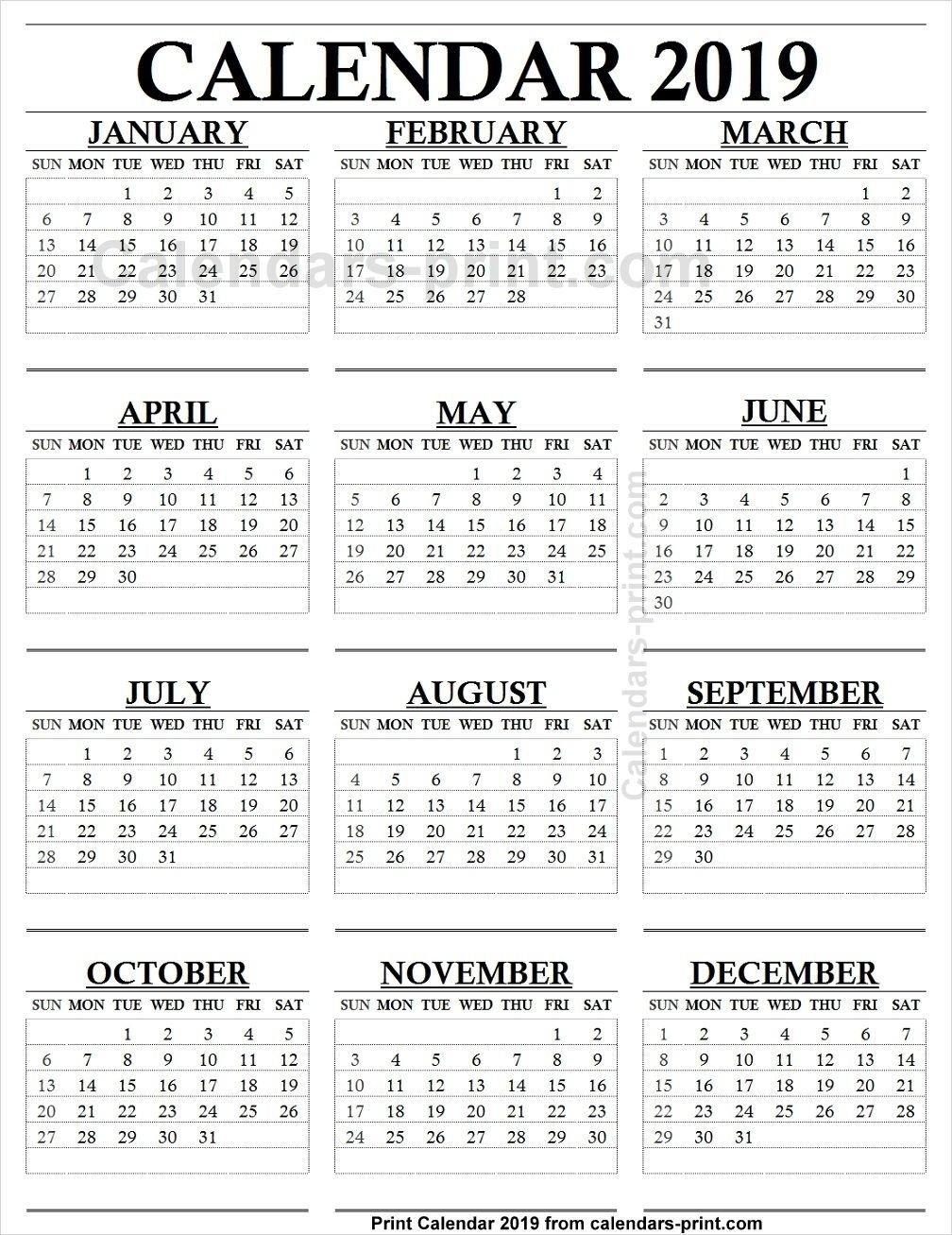 12 Month Calendar 2019 One Page   2019 Yearly Calendar   Calendar Calendar 2019 12 Months