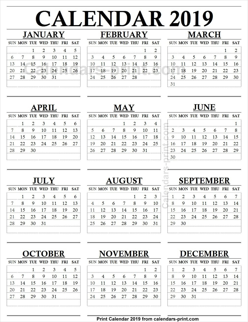 12 Month Calendar 2019 One Page To Print Free   Blank Pdf Template Calendar 2019 Monthly Pdf