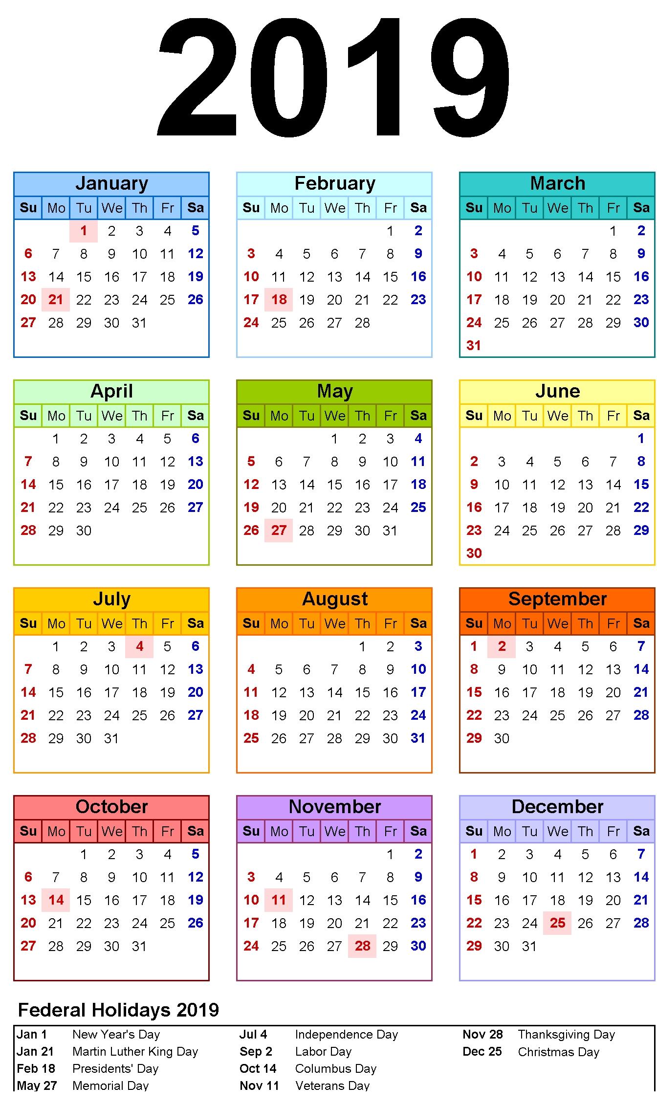 12 Month Calendar In One Page | 2019 | Pinterest | Calendar, 12 Calendar 2019 Labor Day