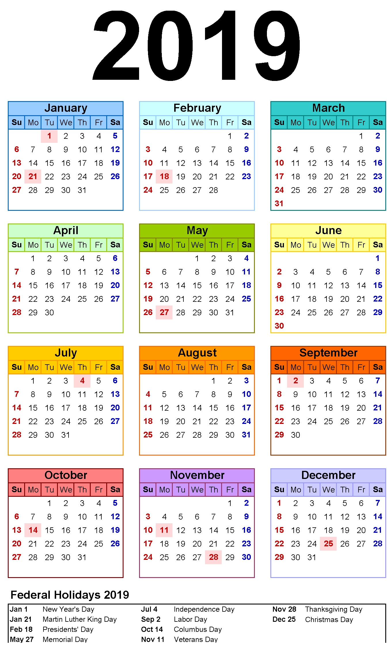 12 Month Calendar In One Page #2019Calendar #holidayscalendar 2019 Calendar 12 Pages