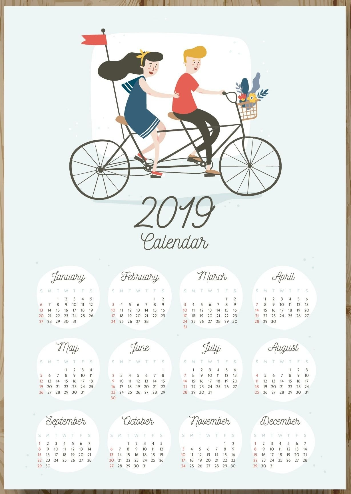 12 Months 2019 One Page Calendar   –Keepsake–   Pinterest Page 3 Calendar 2019