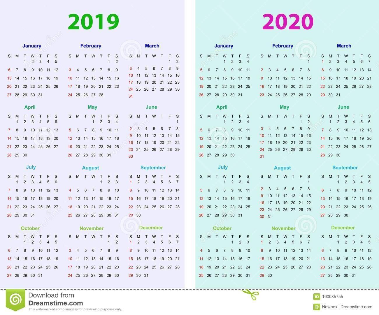 12 Months Calendar Design 2019 2020 Stock Vector – Illustration Of 2019 Calendar 2020 Printable
