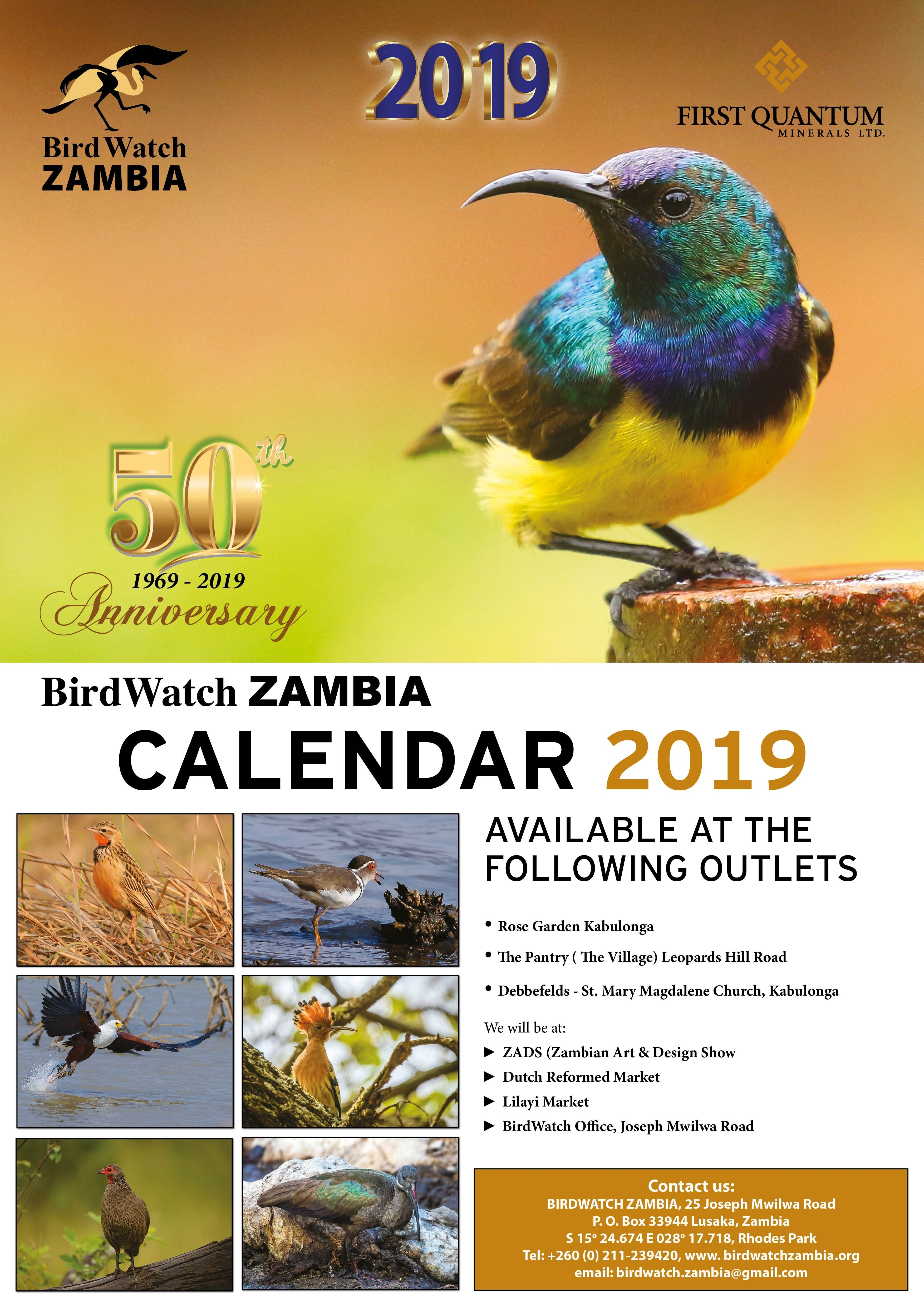 13.11.2018 – Birdwatch 2019 Calendar Now Available » Ad Dicts Ads Calendar 2019 Zambia