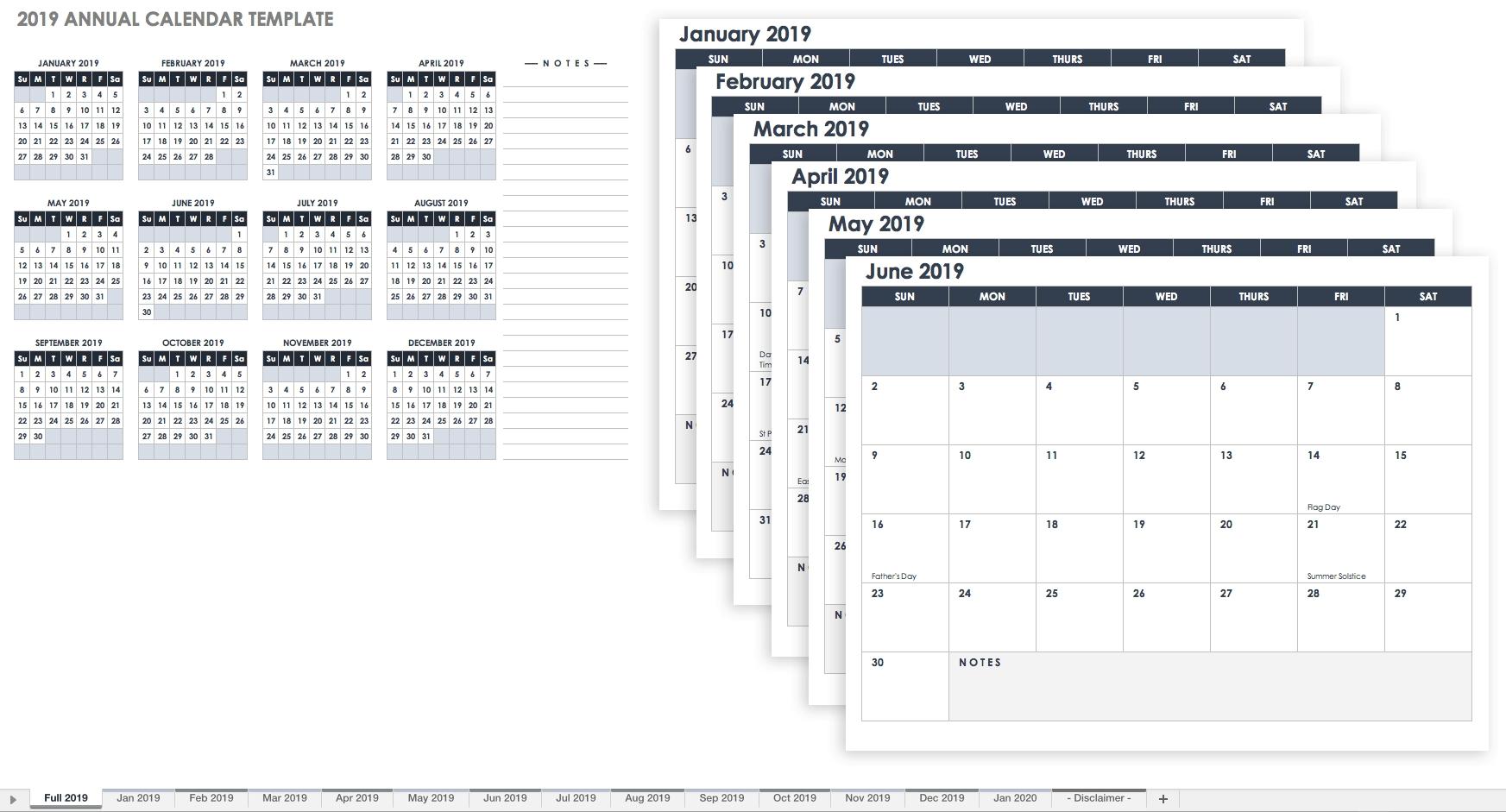 15 Free Monthly Calendar Templates   Smartsheet Calendar 2019 Excel Starting Monday