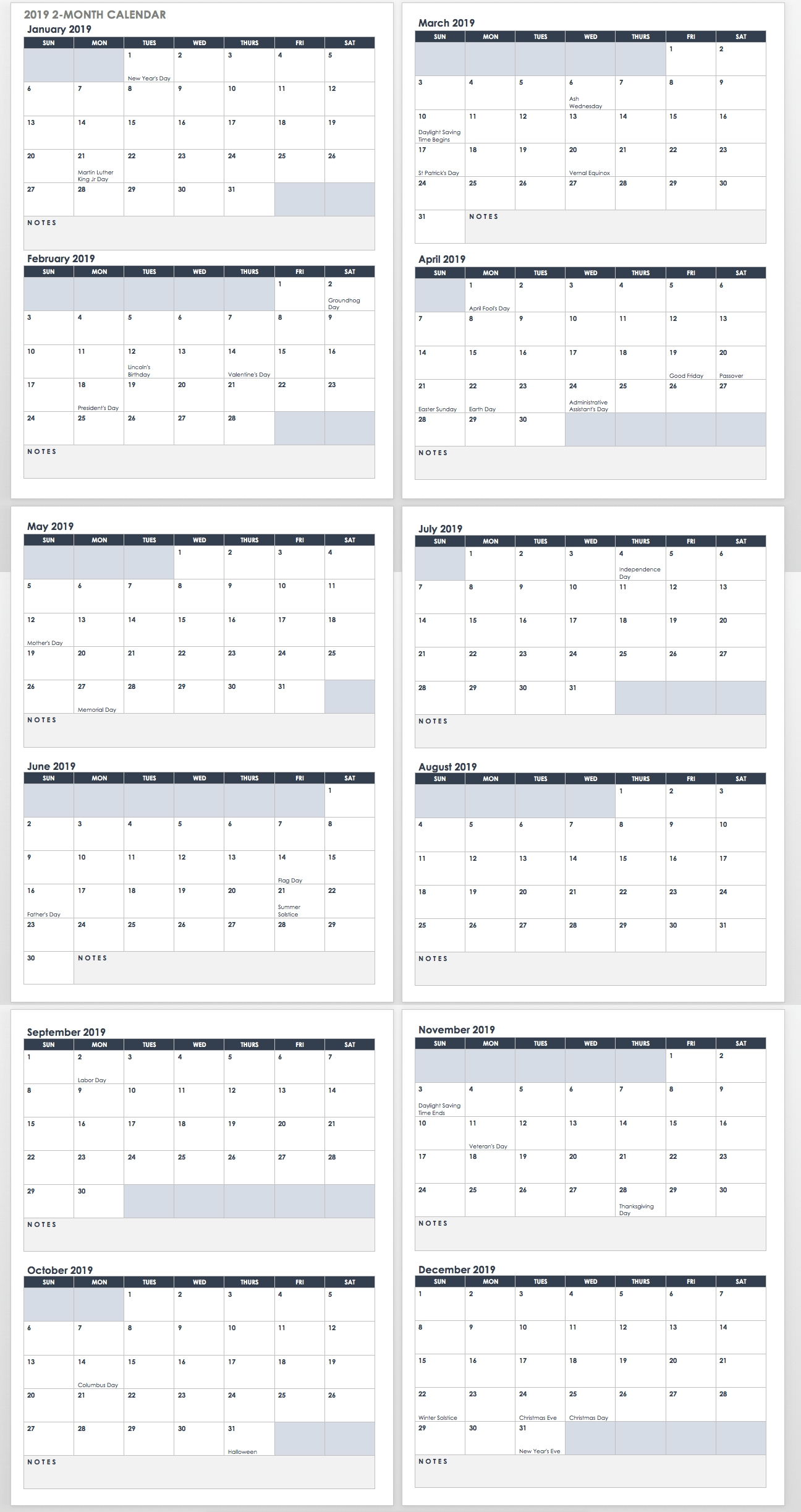 15 Free Monthly Calendar Templates | Smartsheet Calendar 2019 Outline