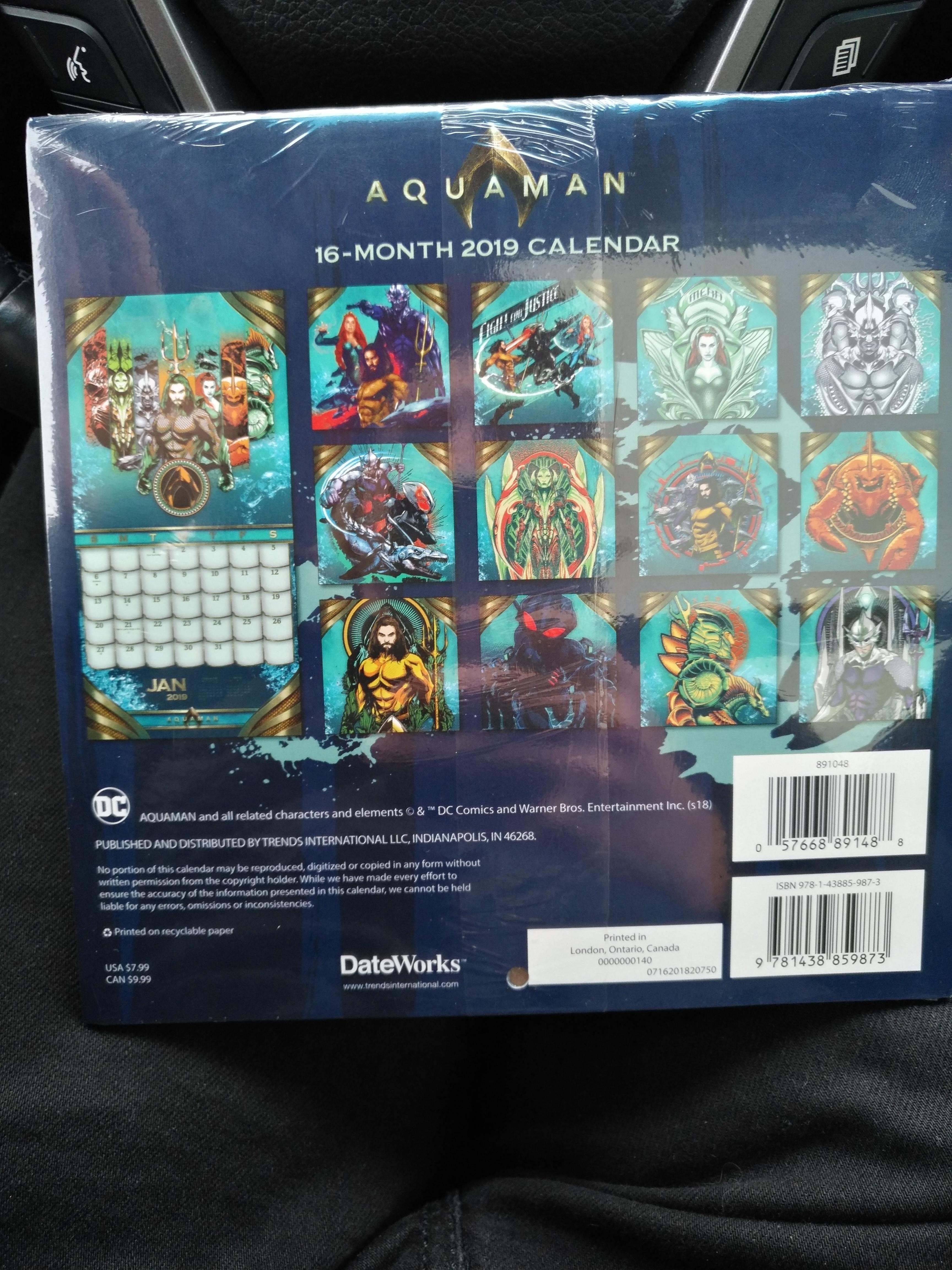 16 Month Mini Calendar At Wal Mart (Canada) : Aquaman Calendar 2019 Walmart