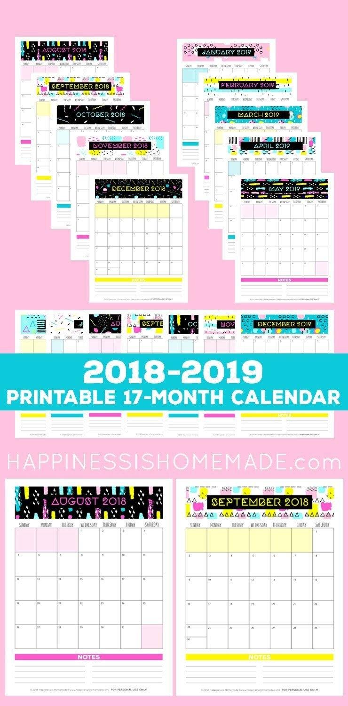 17 Month Calendar: 2018 2019 – Modern Memphis – This 17 Month 2019 Calendar 80S