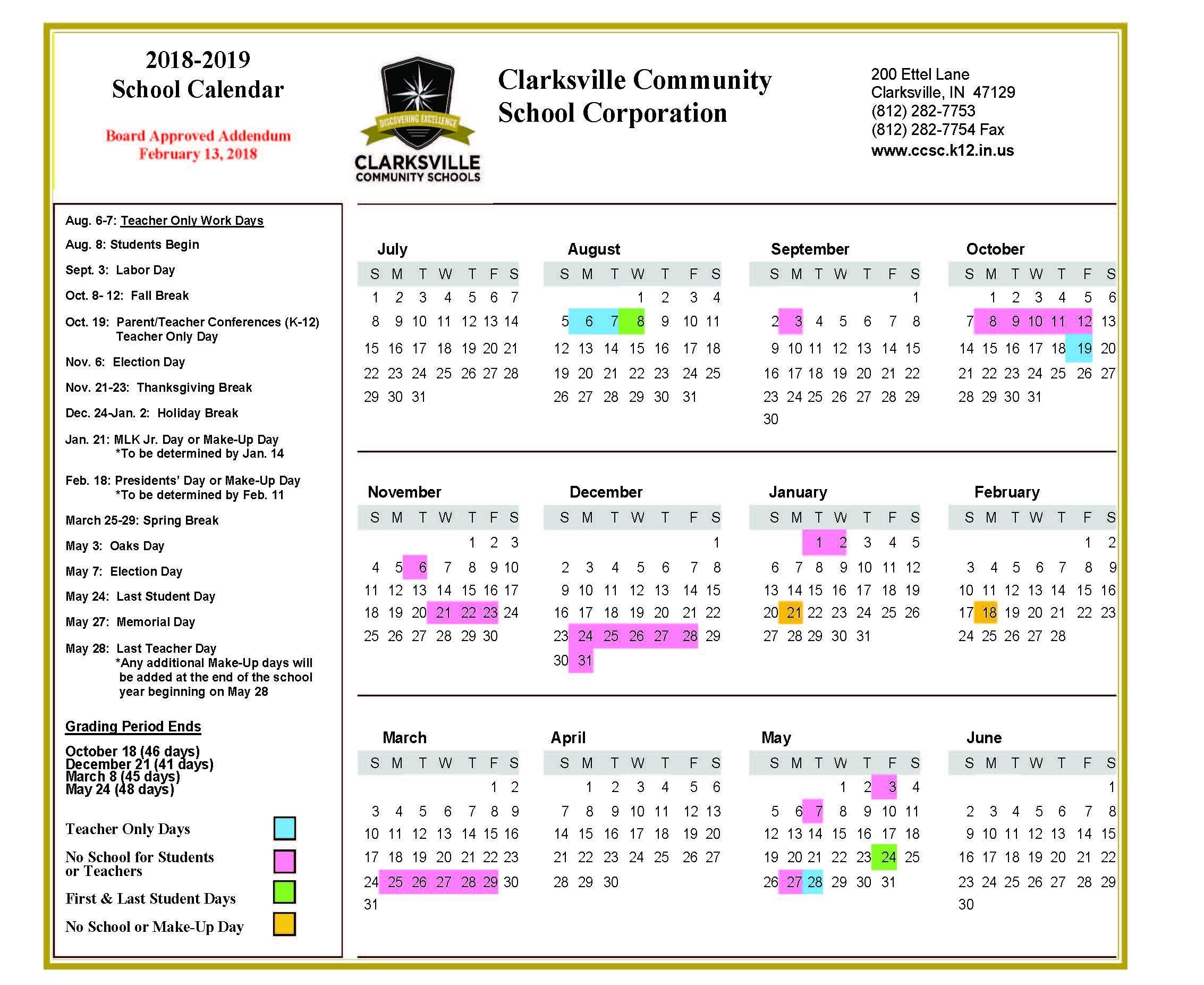 2018 19 Ccsc School Calendar Approved | Clarksville Community School Indiana U Calendar 2019