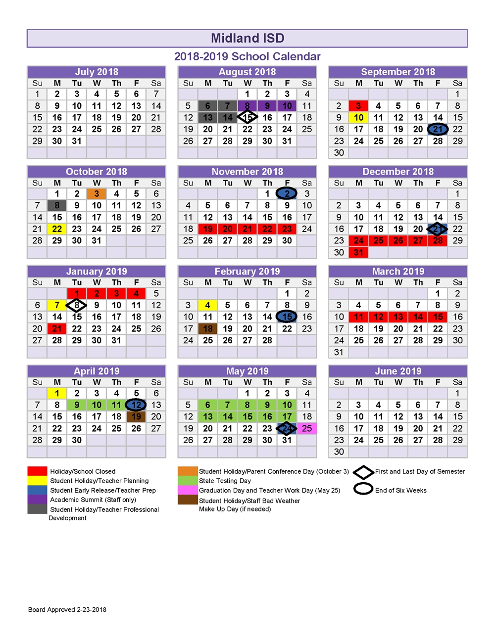 2018 19 School Calendar Calendar 2019 19