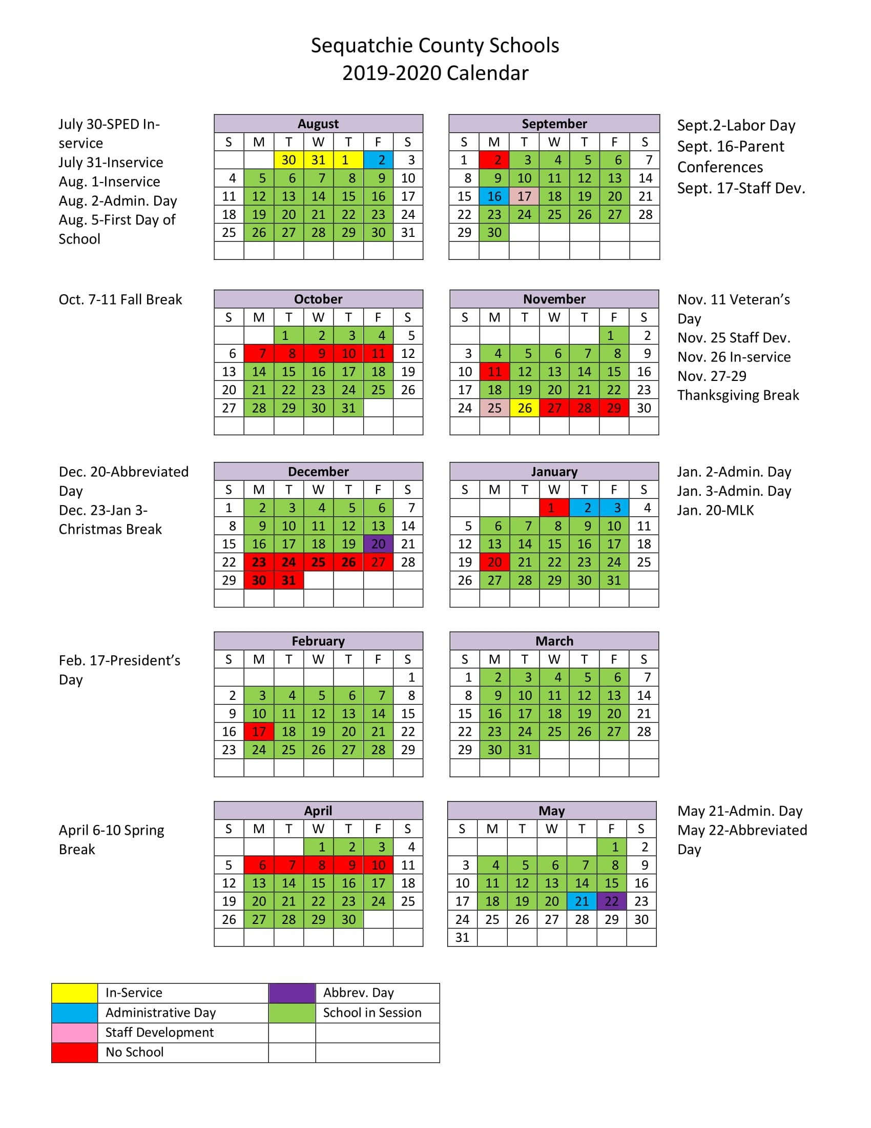 2018 19 School Calendar Calendar 2019 School