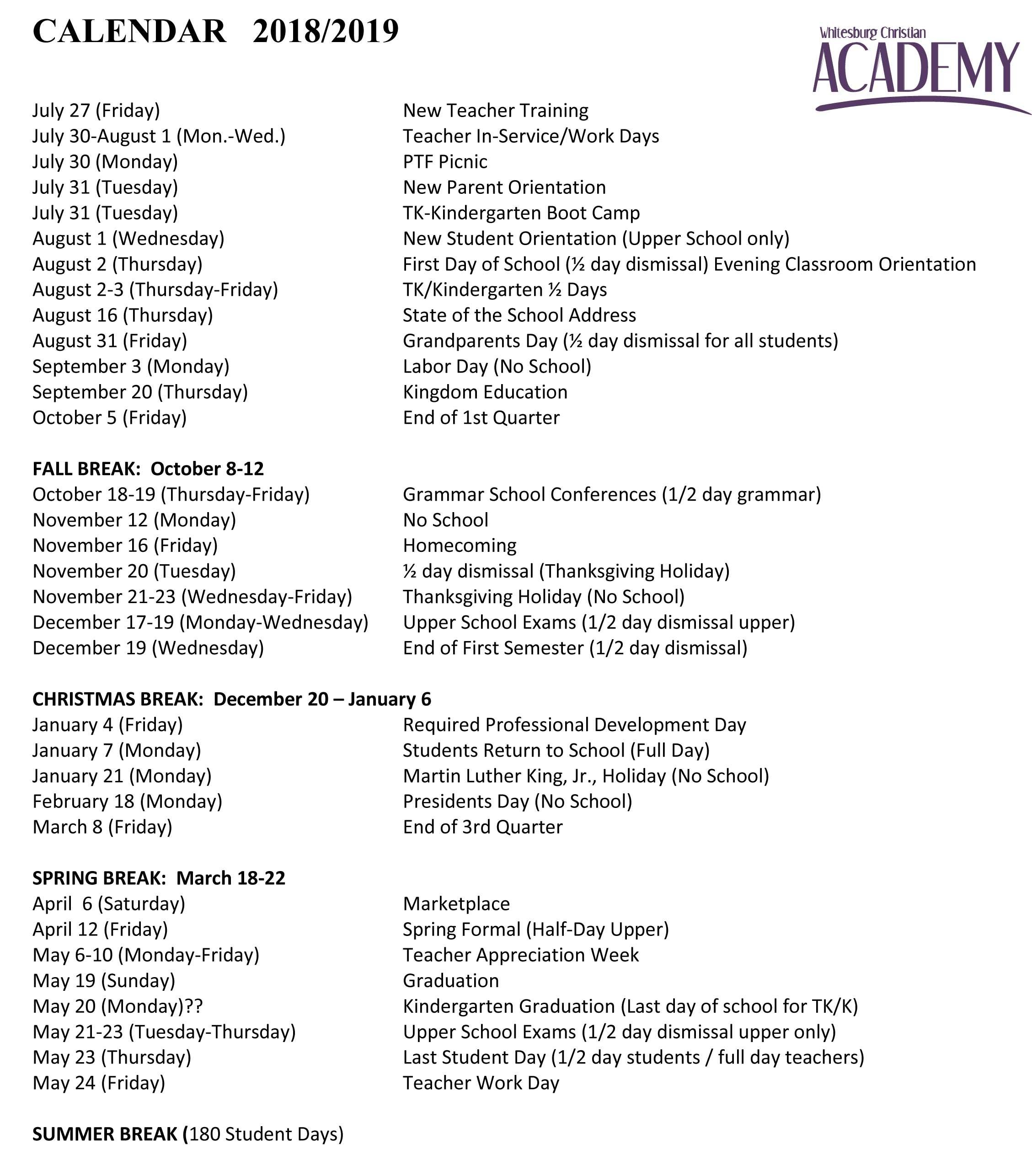 2018 19 School Calendar K State Calendar Spring 2019