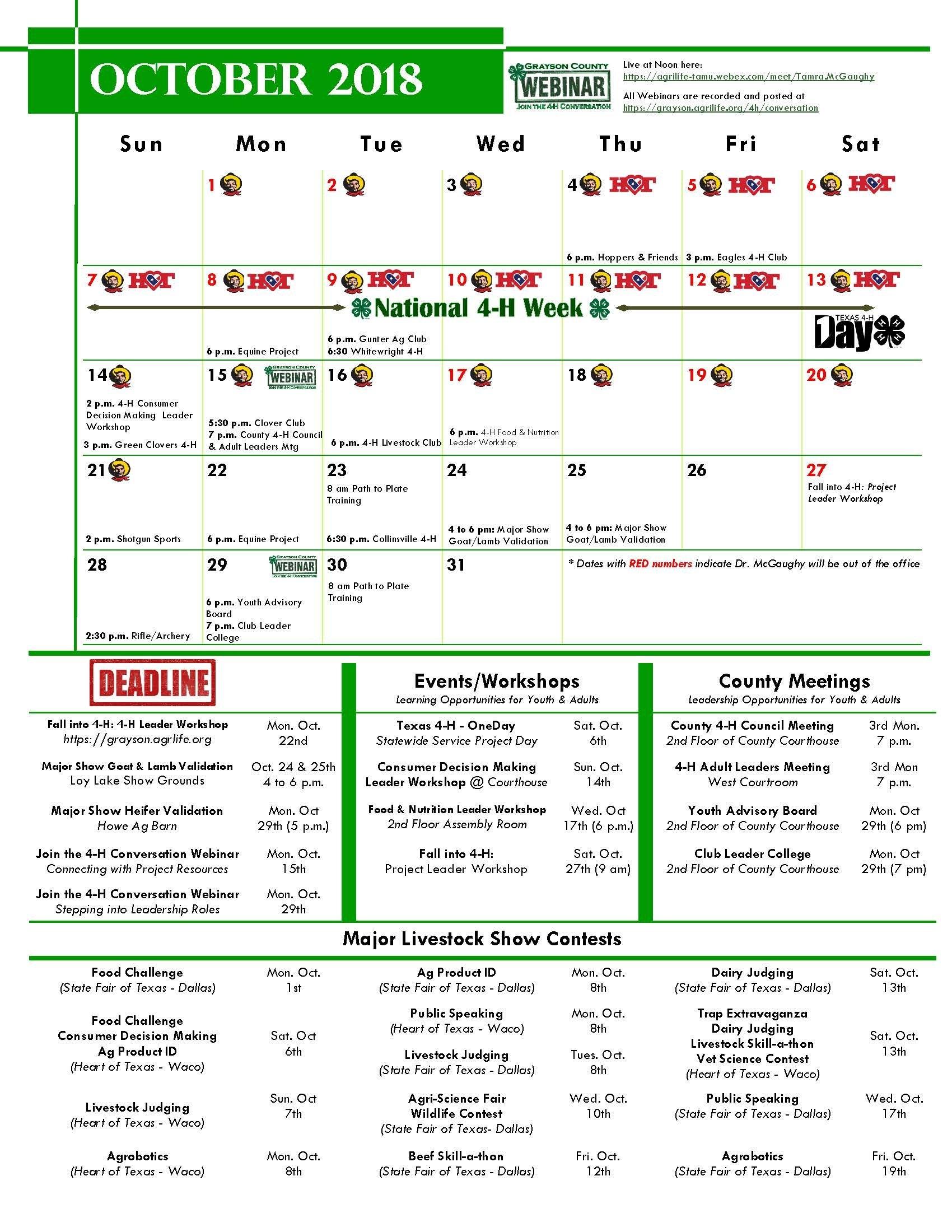 2018 2019 4 H Calendar   Grayson Texas A&m Calendar 2019
