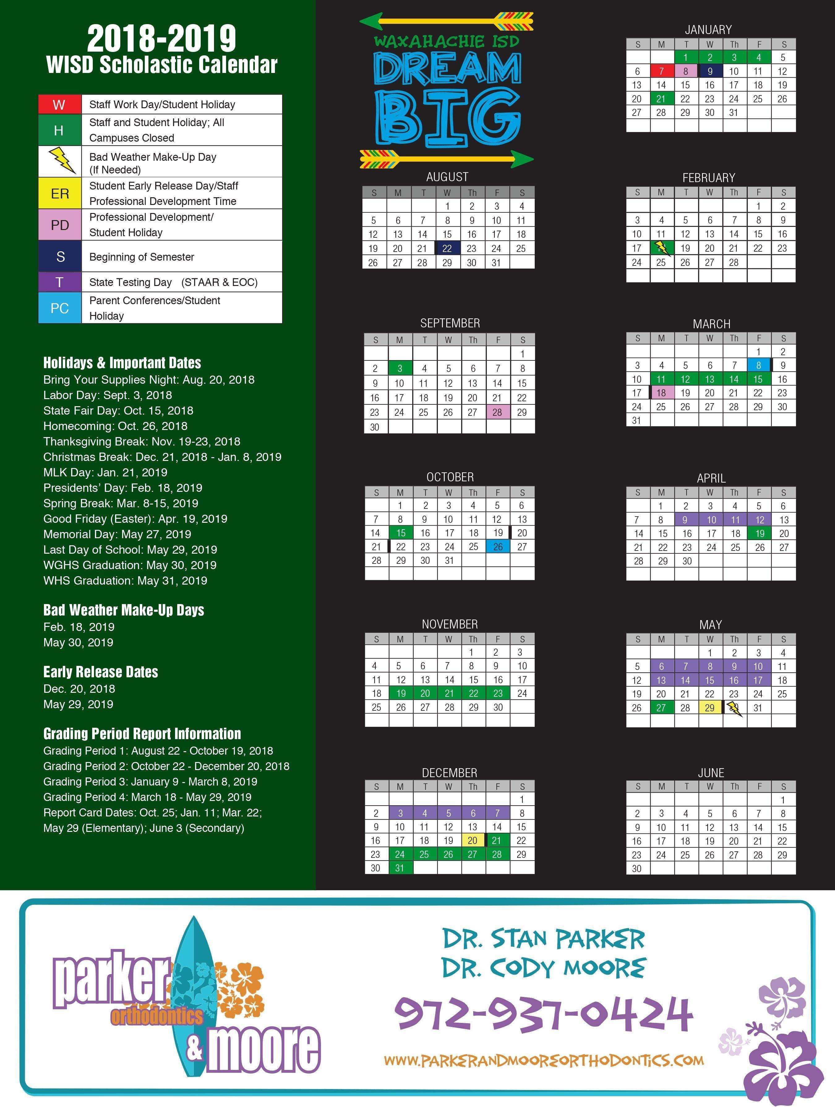 2018 2019 Academic Calendar – About Us – Waxahachie Independent Y 2019 Calendar