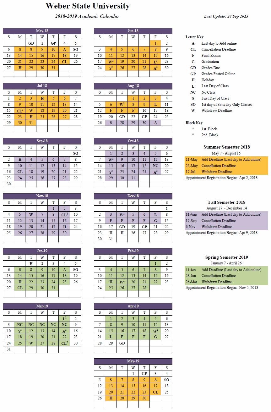 2018 2019 (Approved) Calendar 2019 Ut