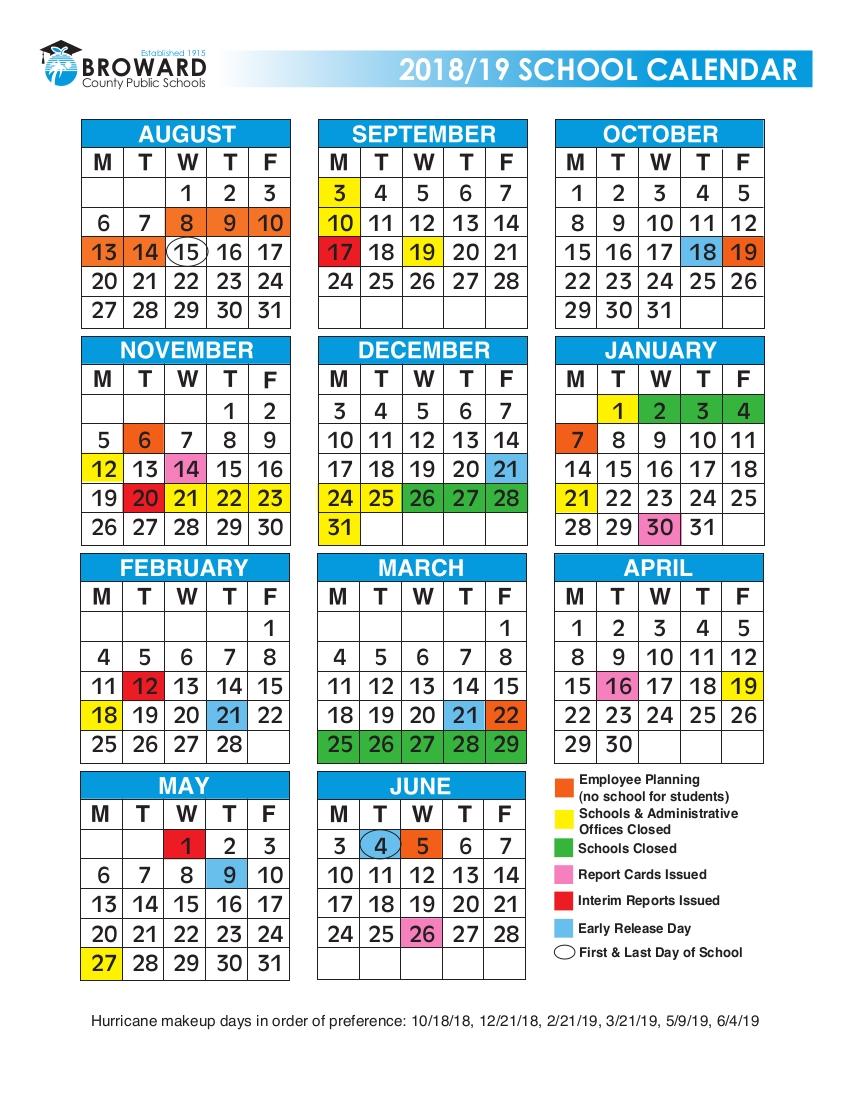 2018/2019 Broward Schools Calendar – Urban Select Realty Ligue 1 Calendar 2019