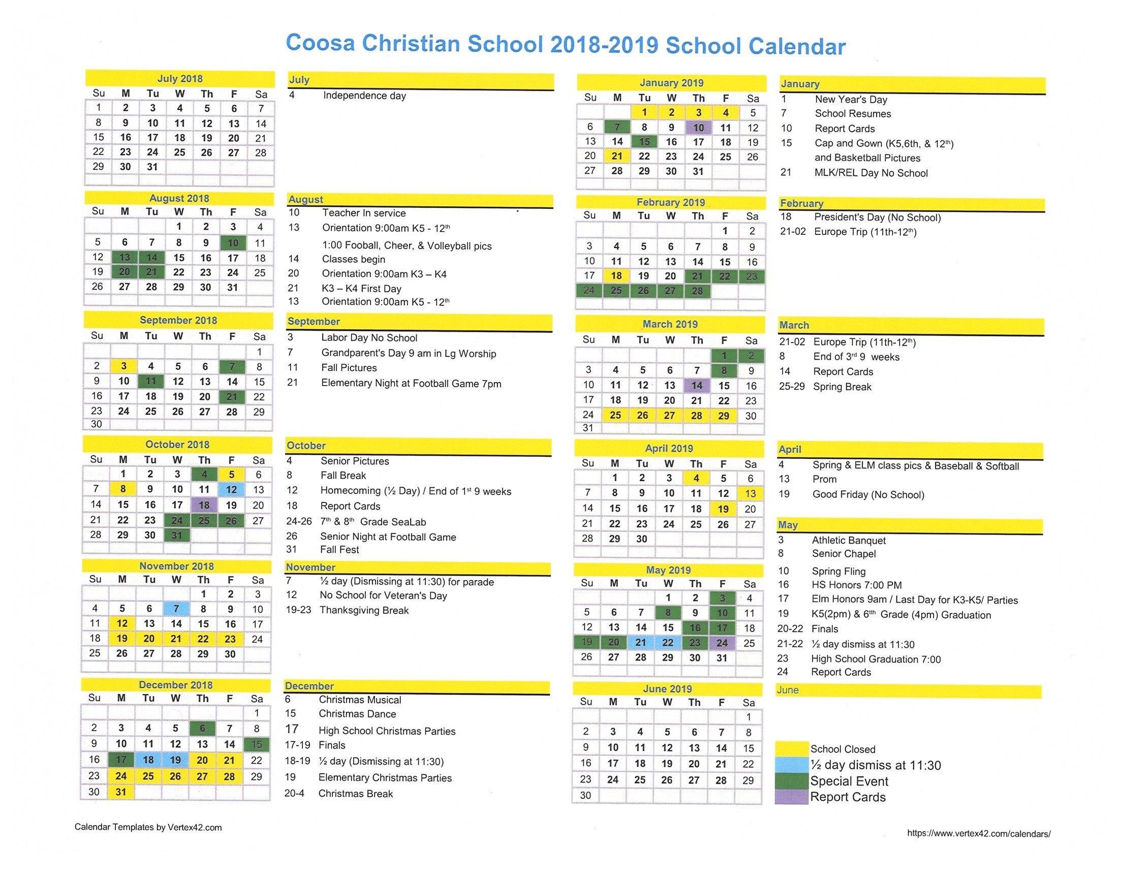 2018 2019 Calendar | Coosa Christian Calendar 2019 Christian